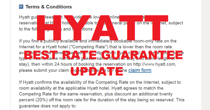Hyatt Gold Passport Best Rate Guarantee Terms & Conditions ...