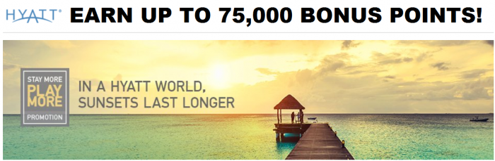 Hyatt Gold Passport Stay More Play More-Promotion For Up To 75,000 Bonus Points April 1 – June 30, 2016 U