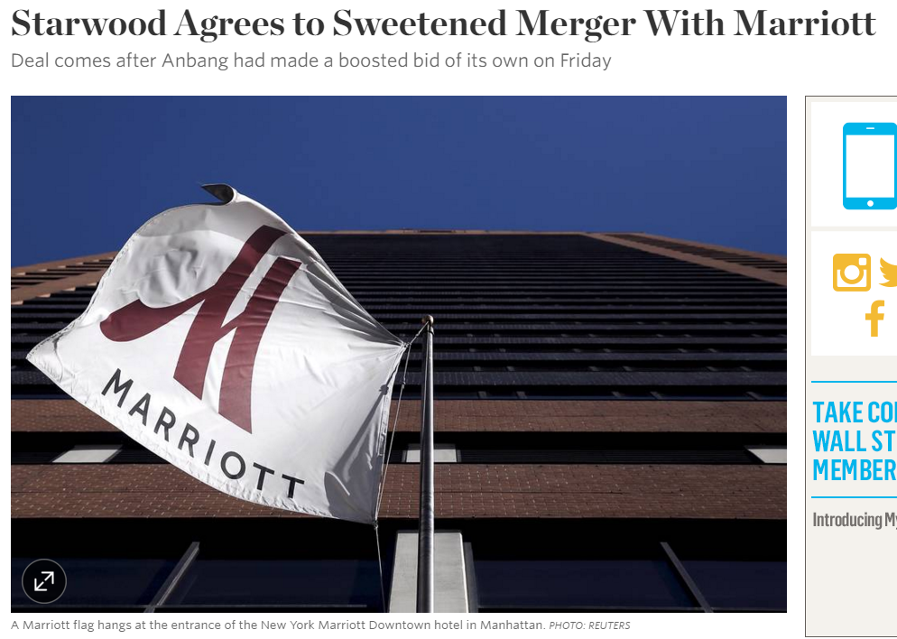 starwood 39 s board accepts sweetened bid from marriott. Black Bedroom Furniture Sets. Home Design Ideas