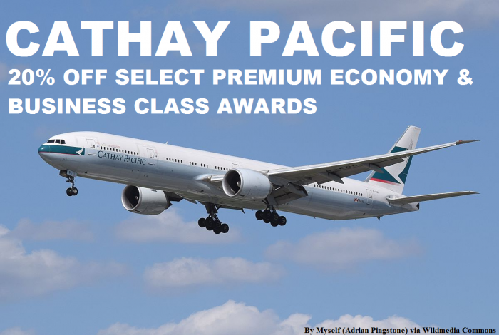 Cathay Pacific 20 Percent  Off Select Premium Economy & Business Awards April 25 – June 13, 2016 (Book By May 16)