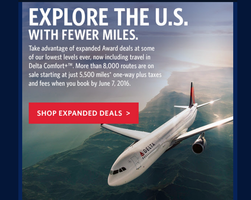Delta SkyMiles Award Sale For August 23 – November 6, 2016