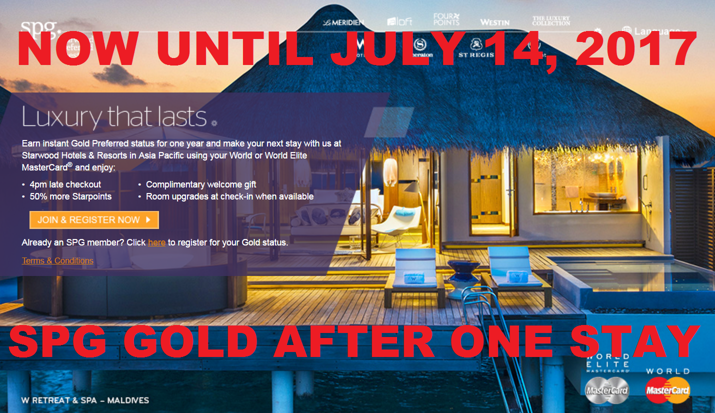 Extended Spg Gold Status After One Stay In Asia For World Elite Mastercard Holders Offer Valid Now Until July 14 2017 Loyaltylobby