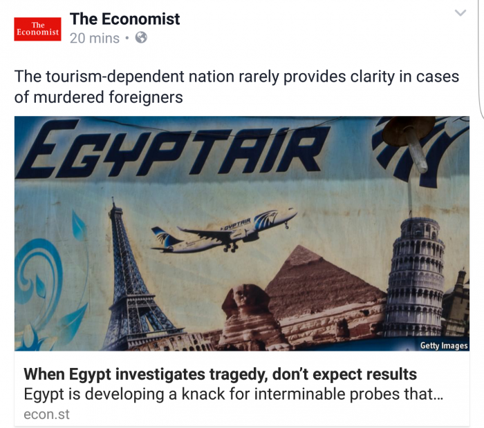 "The Economist ""When Egypt investigates tragedy, don't expect results"""