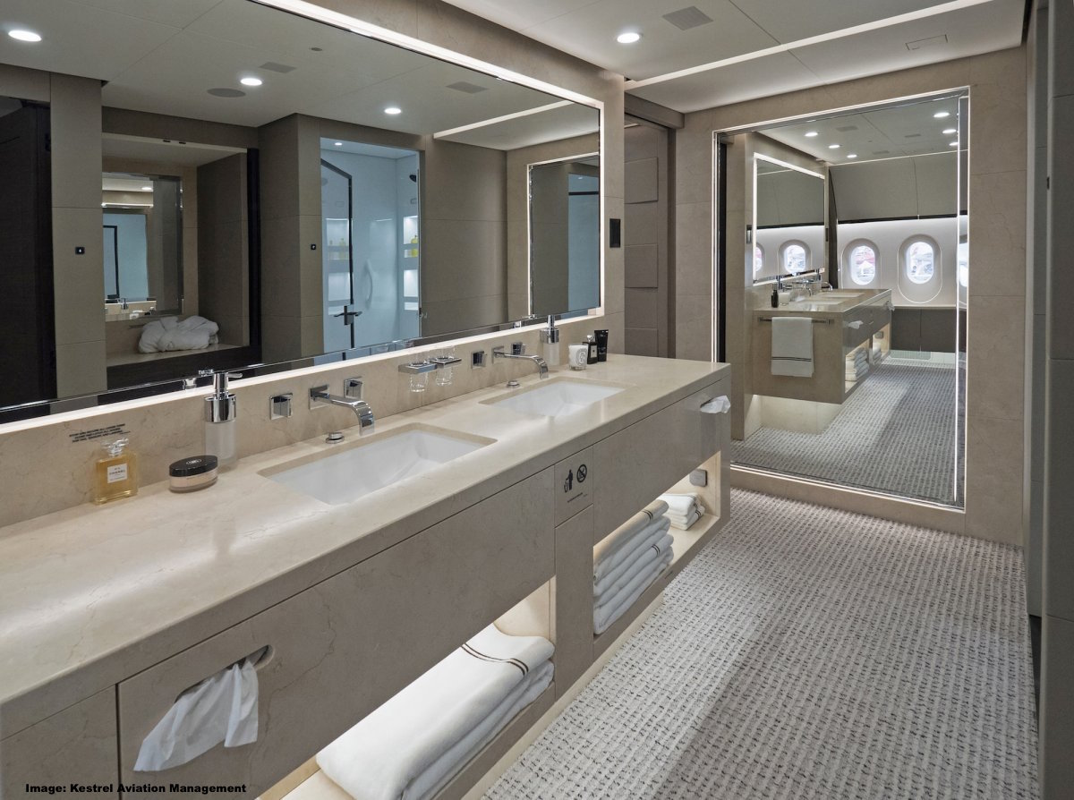 Hainan airlines parent company takes delivery of ultra for Private jet bathroom