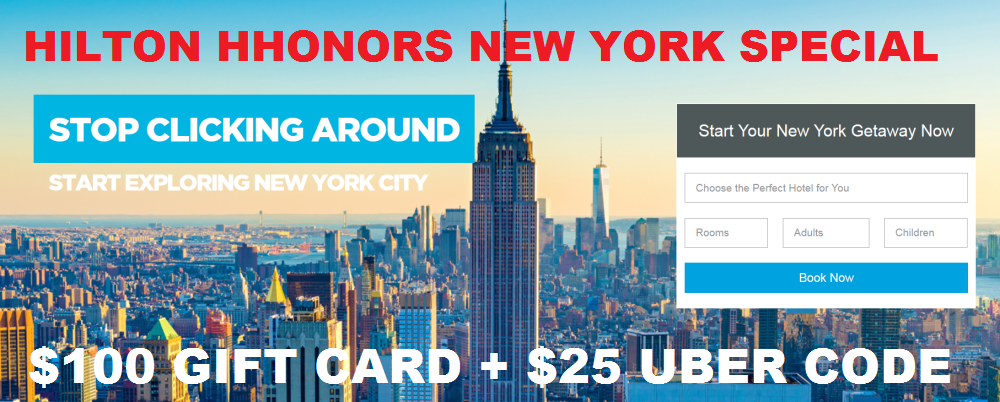 PREVIEW: Hilton HHonors New York $100 Gift Card + $25 Uber Credit ...
