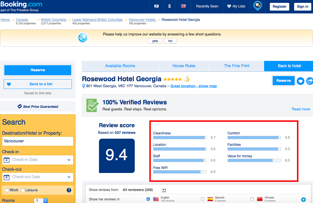 Booking.Com  Booking Accommodations Size Dimensions