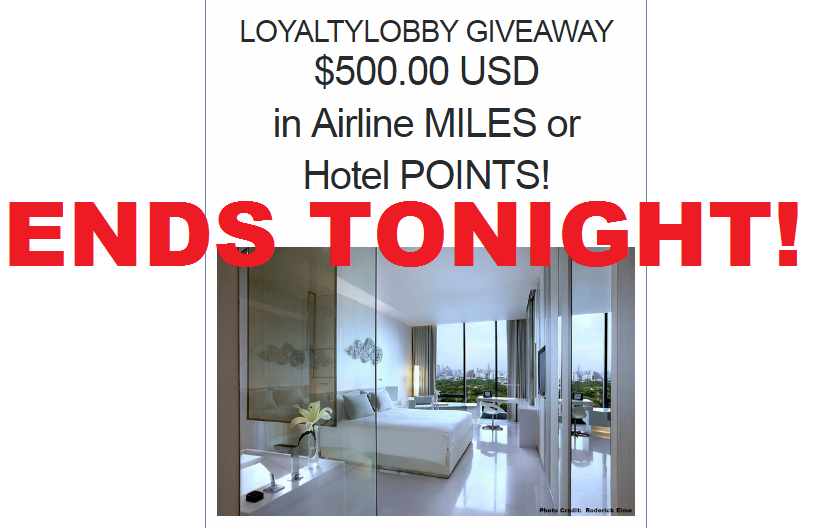 ends tonight loyaltylobby giveaway 500 in hotel points. Black Bedroom Furniture Sets. Home Design Ideas