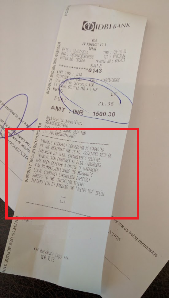 """Whine Wednesdays """"Forced"""" Dynamic Currency Conversion & Clueless Front Desk Clerks At JW Marriott Delhi AeroCity Receipt U"""