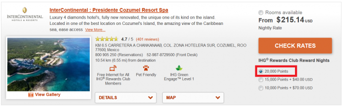 BOOK NOW IHG Rewards Club 50% Off Mexico, Caribbean & Latin America Award Sale For Stays September 1 – October 30, 2016 (Book August 15 – 28) IC Cozumel