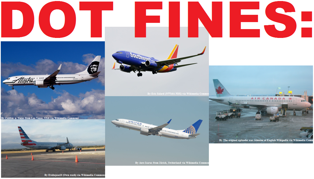 Dot Fines Alaska United American Air Canada And