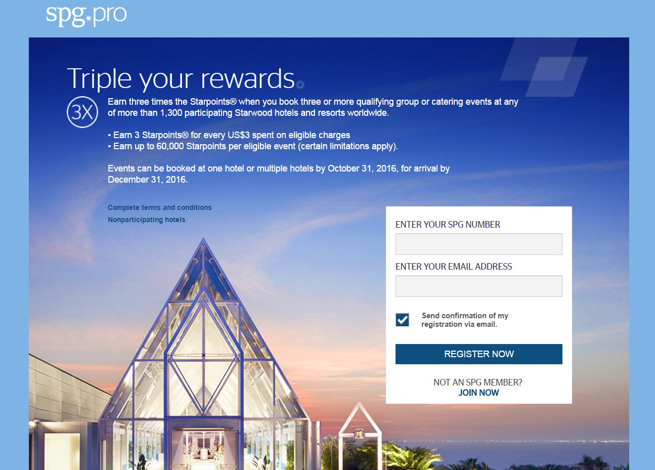 Spg pro triple your rewards for meetings until december 31 2016 book