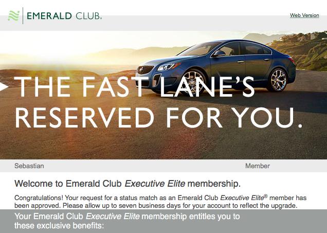 Update National Car Rental Emerald Club Offers Status
