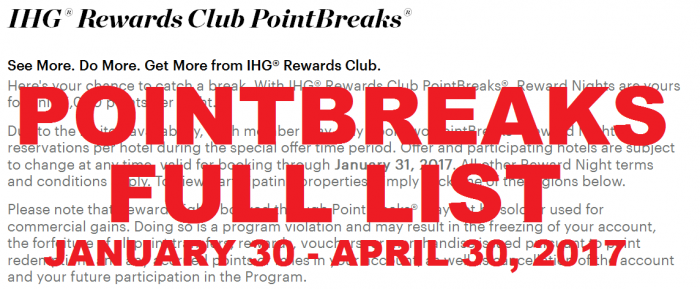 IHG Rewards Club PointBreaks January 30 – April 30, 2017 (FULL LIST)