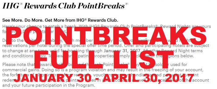 IHG Rewards Club PointBreaks January 30 – April 30, 2017 (FULL LIST)