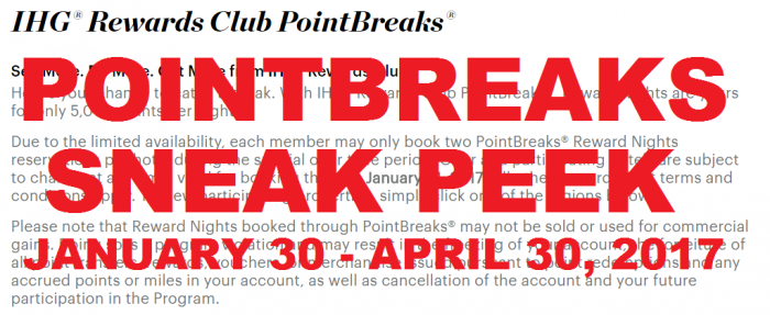 SNEAK PEEK IHG Rewards Club PointBreaks January 30 – April 30, 2017