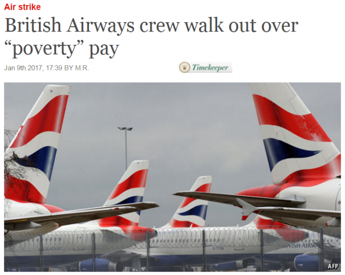 "The Economist British Airways crew walk out over ""poverty"" pay"