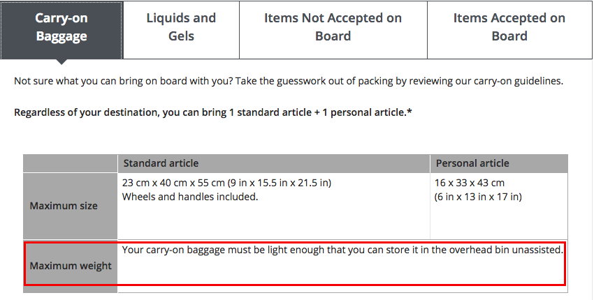 d63acbdd4235 The weight restrictions placed on carry on baggage are often unrealistic.  For example some airlines outline 8 KG as the permissible weight for carry  on bags ...