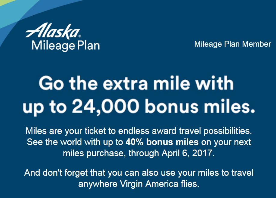 Alaska Airlines Buy Mileage Plan Buy Miles Up To 40 Bonus