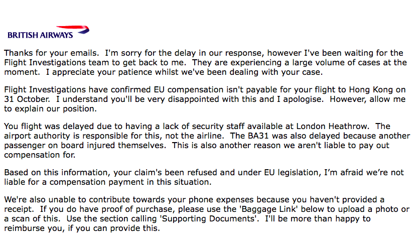 Example Of Customer Service Letter From British Airways