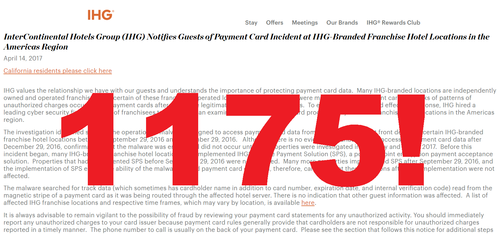 Ihg Payment Card Breach Affecting 1 175 Hotels In The United States Loyaltylobby