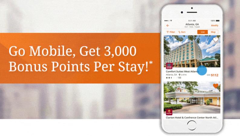 Choice privileges mobile app promo 3 000 bonus points per - Bonus mobile ...