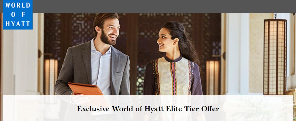 extended world of hyatt explorist elite tier offer. Black Bedroom Furniture Sets. Home Design Ideas