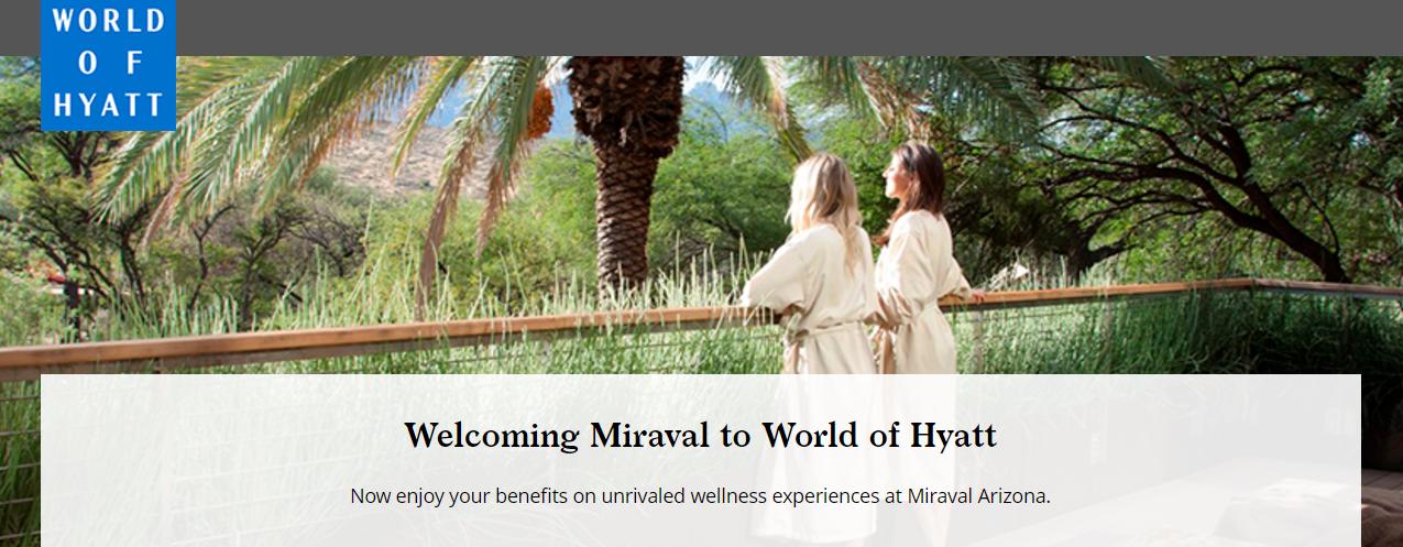 miraval now world of hyatt participating 50 off awards. Black Bedroom Furniture Sets. Home Design Ideas