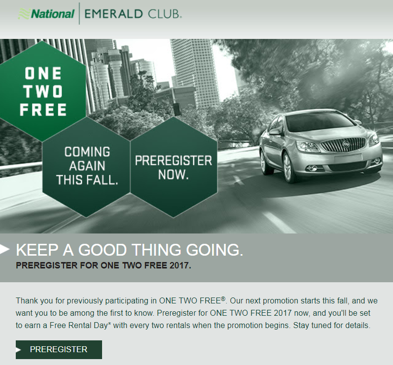 National Car Rental: PREVIEW: National Emerald Club One Two Free Promotion Is