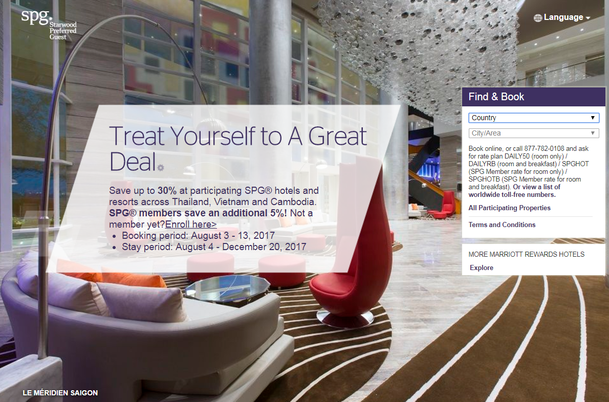 Starwood Thailand, Vietnam & Cambodia Up To 35% Off Sale For