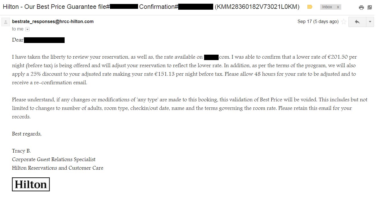 Best Price Guarantee Denied  Review of Hilton Long