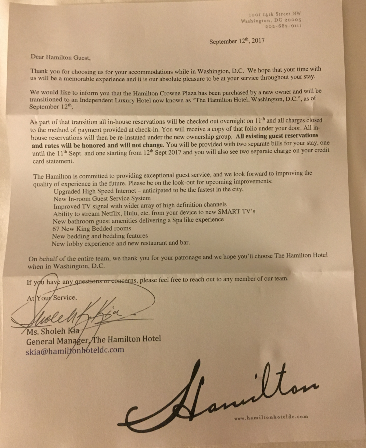 Marriot Hotel Send You A Letter About Stay