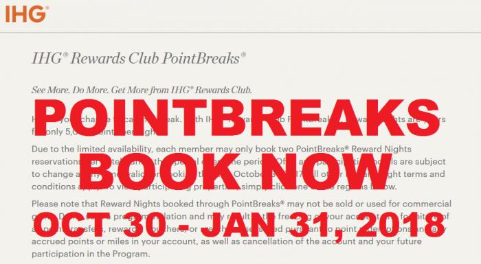 BOOK NOW IHG Rewards Club PointBreaks October 30 – January 31, 2018