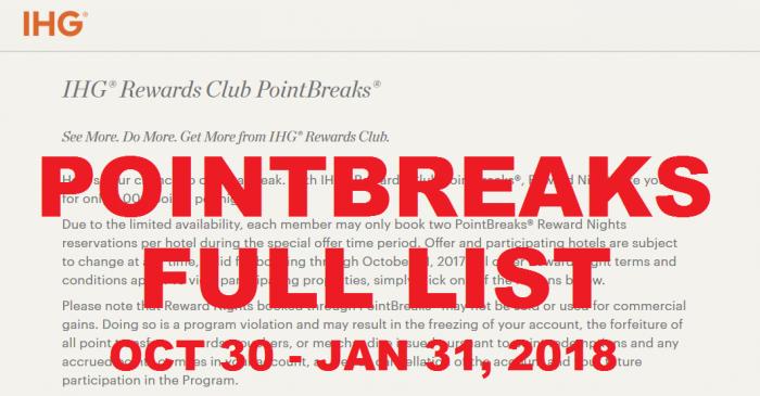 FULL LIST IHG Rewards Club PointBreaks October 30 – January 31, 2018