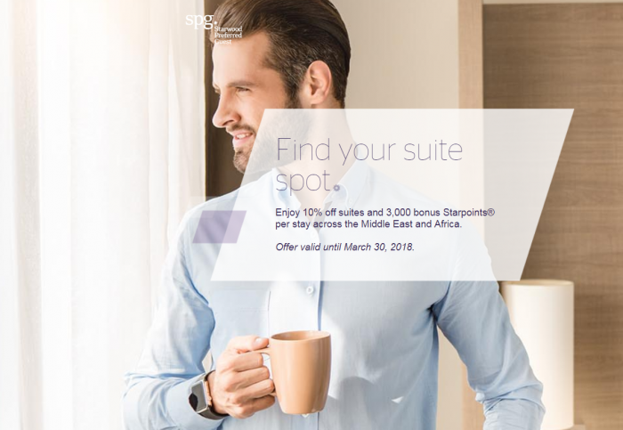 "SPG ""Find Your Suite Spot"" 10% Off + 3,000 Bonus Starpoints In Middle East & Africa Through March 31, 2018"