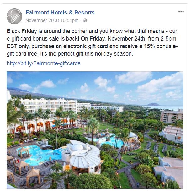 Black Friday Fairmont E-Gift Cards 15 Percent Bonus November 24, 2017, 2PM – 5PM EST