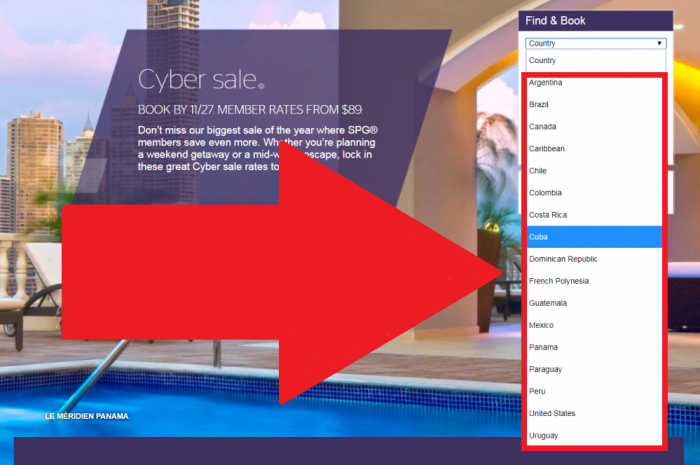 SPG 5-Day Cyber Sale For Stays In US, Canada, Caribbean & Latin America December 7 – January 15, 2018 (Book November 23 – 27) Countries