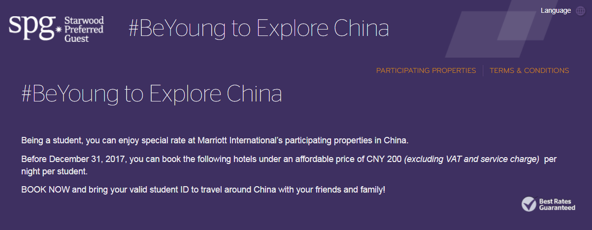SPG Student Rate Plan For Stays In China Through December 31
