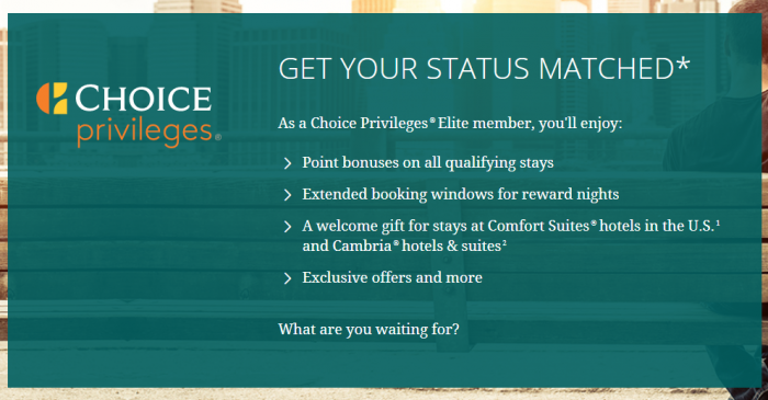 Choice Hotels Choice Privileges Status Match 2018 Benefits