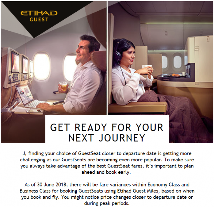 "Etihad Airways ""Enhances"" Guest Awards To Be More Dynamically Priced On June 30, 2018"