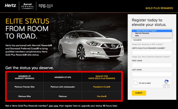 Hertz Rent A Car Status Match Amp 1000 Starwood Spg Points