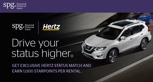 Hertz Rent A Car Status Match & 1000 Starwood SPG Points