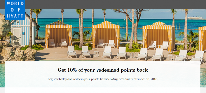 Hyatt Get 10% Of Redeemed Points Back August 1 – September 30, 2018 (Cardholders Only)