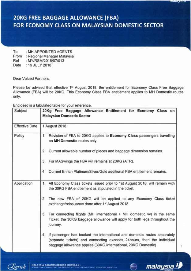 Malaysia Airlines Reduces Luggage Allowance On Domestic Flights For ... af6db372ebce8