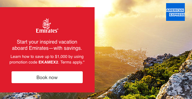 Emirates offers up to 1000 discount if flight is paid by any all american express cards are eligible for this promotional discount which ranges from 50 for economy class to 100 for first class tickets m4hsunfo