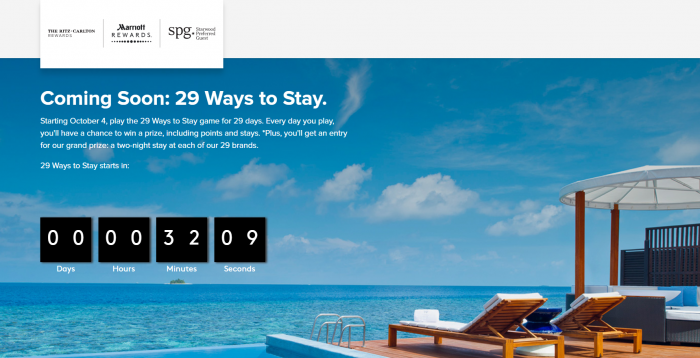 Marriott Rewards & SPG 29 Ways Sweepstakes October 4 – November 1, 2018 Delays
