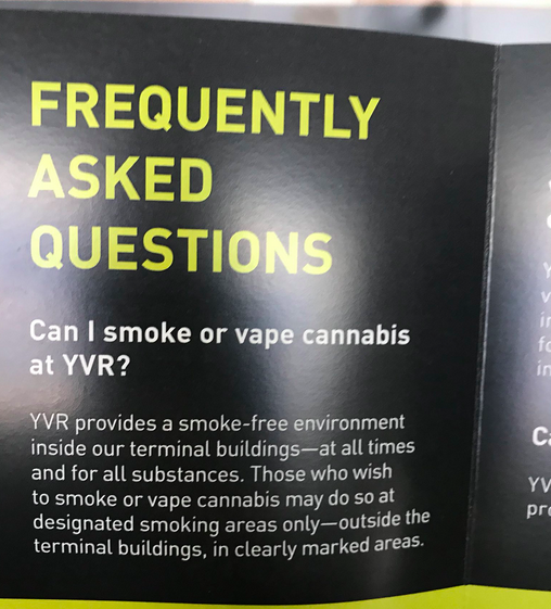 Vancouver Airport Now Provides Cannabis Smoking Area, Warns