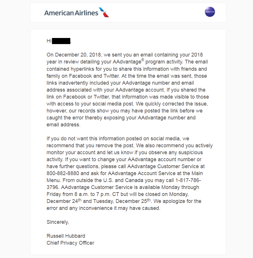 Be Careful What You Share Case American Airlines Year In