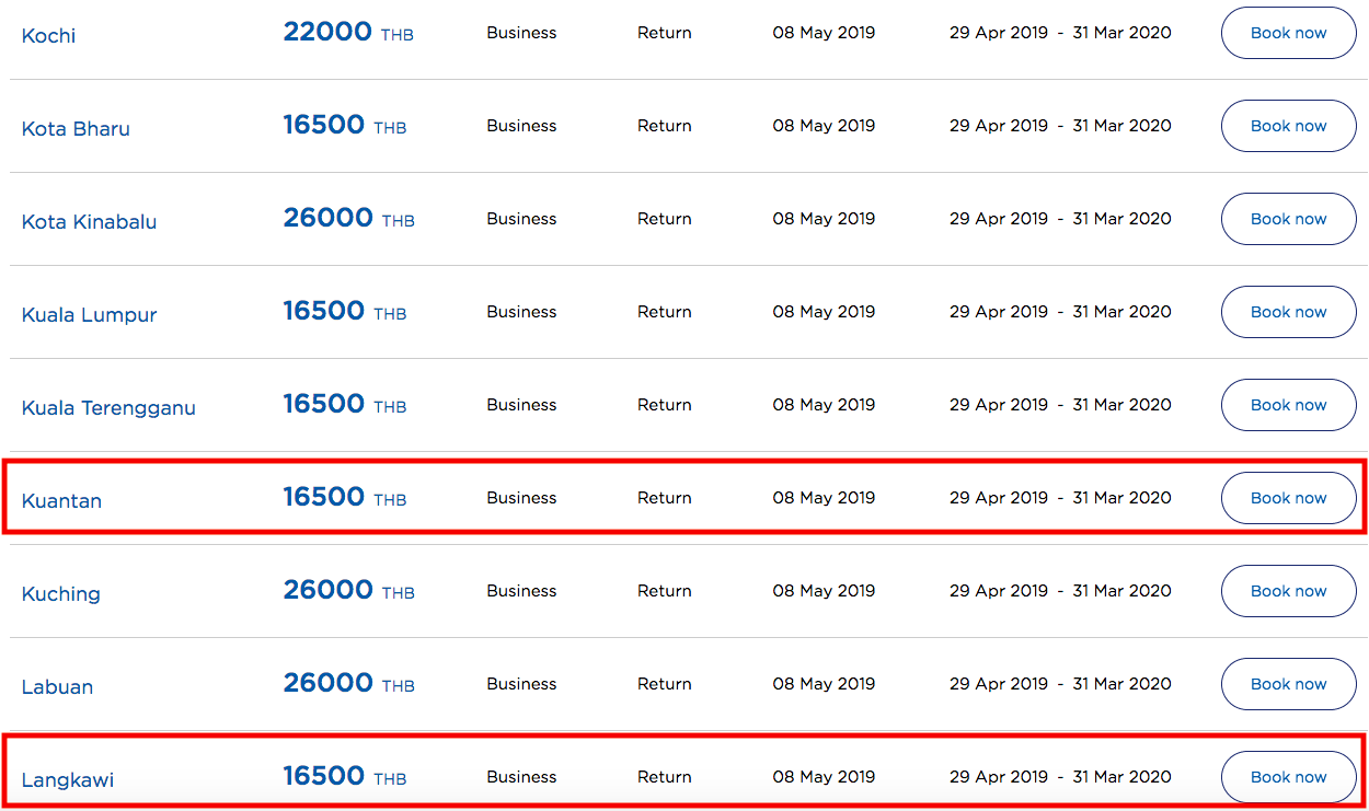 Low Priced Malaysia Airlines Business Class Fares ex Bangkok