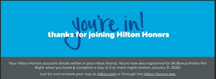 Hilton Honors New Member Bonus 2019 Confirmation