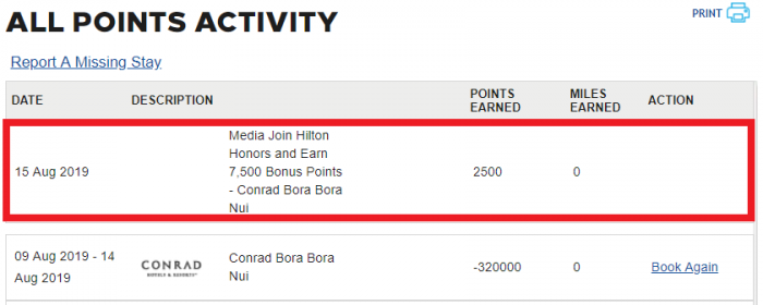 Hilton Honors Points Activity
